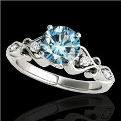 1.15 CTW SI Certified Fancy Blue Diamond Solitaire Antique Ring 10K White Gold - REF-156K4R - 34815