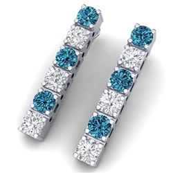 6 CTW Si/I Fancy Blue & White Diamond Earrings 18K White Gold - REF-422F8M - 39927