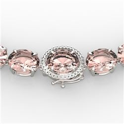 148 CTW Morganite & VS/SI Diamond Solitaire Necklace 14K White Gold - REF-1719X8T - 22306