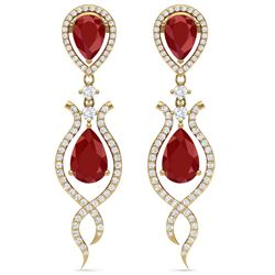 16.57 CTW Royalty Designer Ruby & VS Diamond Earrings 18K Yellow Gold - REF-345T5X - 39515