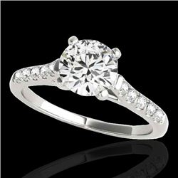 1.45 CTW H-SI/I Certified Diamond Solitaire Ring 10K White Gold - REF-163F5M - 34979