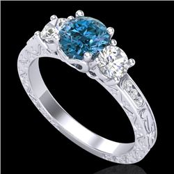 1.41 CTW Intense Blue Diamond Solitaire Art Deco 3 Stone Ring 18K White Gold - REF-180W2H - 37761