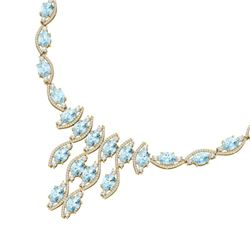 68.12 CTW Royalty Sky Topaz & VS Diamond Necklace 18K Yellow Gold - REF-945X5T - 39008