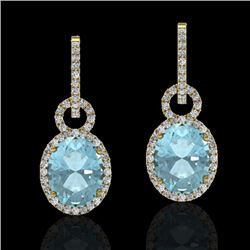 6 CTW Aquamarine & Micro Pave Halo VS/SI Diamond Earrings 14K Yellow Gold - REF-125T5X - 22730