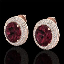 9 CTW Garnet & Micro Pave VS/SI Diamond Certified Earrings 14K Rose Gold - REF-142K5R - 20225