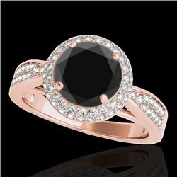 2.15 CTW Certified Vs Black Diamond Solitaire Halo Ring 10K Rose Gold - REF-96T4X - 34418