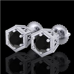 1.15 CTW Fancy Black Diamond Solitaire Art Deco Stud Earrings 18K White Gold - REF-68R2K - 38038