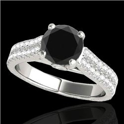 1.61 CTW Certified Vs Black Diamond Pave Ring Two Tone 10K White Gold - REF-79T8X - 35460
