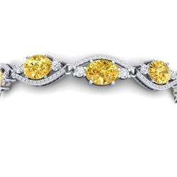 18.3 CTW Royalty Canary Citrine & VS Diamond Bracelet 18K White Gold - REF-327X3T - 38973