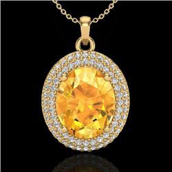 4 CTW Citrine & Micro Pave VS/SI Diamond Certified Necklace 18K Yellow Gold - REF-92T4X - 20561