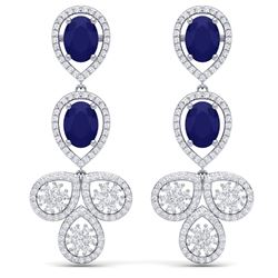 9.75 CTW Royalty Sapphire & VS Diamond Earrings 18K White Gold - REF-290X9T - 39084