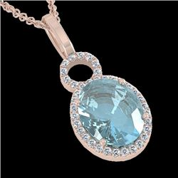 4 CTW Sky Blue Topaz & Micro Halo VS/SI Diamond Necklace 14K Rose Gold - REF-45X3T - 22773
