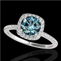 1.5 CTW SI Certified Fancy Blue Diamond Solitaire Halo Ring 10K White Gold - REF-180W2H - 33339