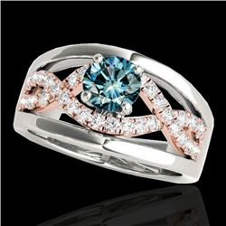 1.3 CTW SI Certified Fancy Blue Diamond Solitaire Ring Two Tone 10K White & Rose Gold - REF-180K2R -