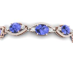 20.5 CTW Royalty Tanzanite & VS Diamond Bracelet 18K Rose Gold - REF-527Y3N - 38968
