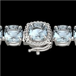 35 CTW Sky Blue Topaz & Micro VS/SI Diamond Halo Bracelet 14K White Gold - REF-139M6F - 23327