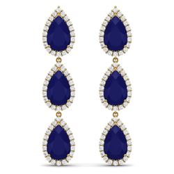 27.06 CTW Royalty Sapphire & VS Diamond Earrings 18K Yellow Gold - REF-345H5W - 38849