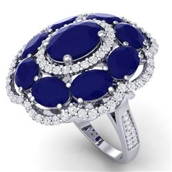 14.4 CTW Royalty Designer Sapphire & VS Diamond Ring 18K White Gold - REF-250T9X - 39189
