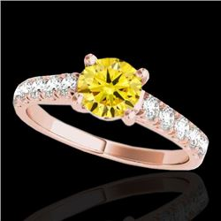 1.55 CTW Certified Si Fancy Intense Yellow Diamond Solitaire Ring 10K Rose Gold - REF-207K3R - 35497