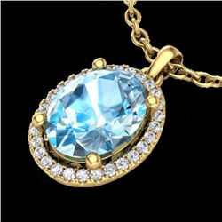 3 CTW Sky Blue Topaz & Micro Pave VS/SI Diamond Necklace Halo 18K Yellow Gold - REF-49H3W - 21074