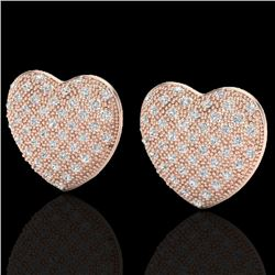 1.50 Designer CTW Micro Pave VS/SI Diamond Heart Earrings 14K Rose Gold - REF-110Y4N - 20176