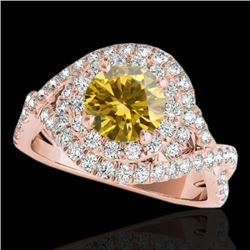 2 CTW Certified Si Fancy Intense Yellow Diamond Solitaire Halo Ring 10K Rose Gold - REF-236W4H - 338