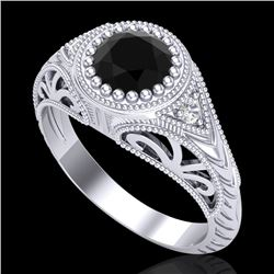 1.07 CTW Fancy Black Diamond Solitaire Engagement Art Deco Ring 18K White Gold - REF-72K5R - 37471