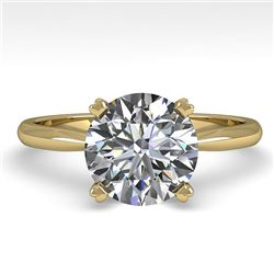 2 CTW Certified VS/SI Diamond Engagement Ring 18K Yellow Gold - REF-931K3R - 32443