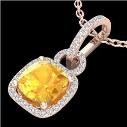 3.50 CTW Citrine & Micro VS/SI Diamond Certified Necklace 14K Rose Gold - REF-52M5F - 22979