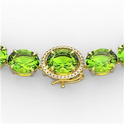 148 CTW Peridot & VS/SI Diamond Halo Micro Solitaire Necklace 14K Yellow Gold - REF-913X8T - 22308
