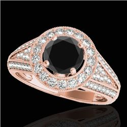 1.7 CTW Certified Vs Black Diamond Solitaire Halo Ring 10K Rose Gold - REF-91X3T - 33971