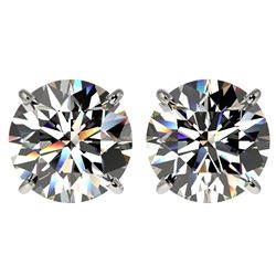 4 CTW Certified G-Si Quality Diamond Solitaire Stud Earrings 10K White Gold - REF-940Y9N - 33131