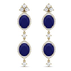 15.81 CTW Royalty Sapphire & VS Diamond Earrings 18K Yellow Gold - REF-290W9H - 38912
