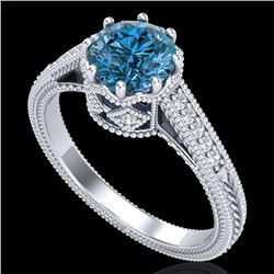 1.25 CTW Fancy Intense Blue Diamond Solitaire Art Deco Ring 18K White Gold - REF-195F5M - 37523