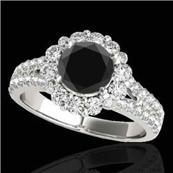 2.01 CTW Certified Vs Black Diamond Solitaire Halo Ring 10K White Gold - REF-102T2X - 33934
