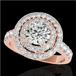2.25 CTW H-SI/I Certified Diamond Solitaire Halo Ring 10K Rose Gold - REF-218T2X - 34212