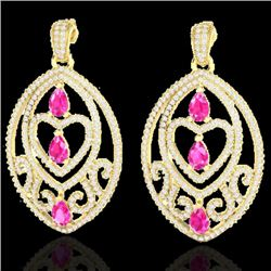 7 CTW Sapphire Pink & Micro Pave VS/SI Diamond Heart Earrings 18K Yellow Gold - REF-381M8F - 21157