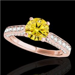 1.6 CTW Certified Si Fancy Intense Yellow Diamond Solitaire Ring 10K Rose Gold - REF-180T2X - 34924