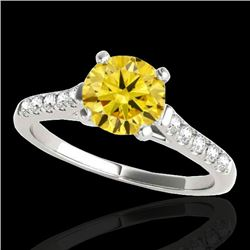 1.2 CTW Certified Si Fancy Intense Yellow Diamond Solitaire Ring 10K White Gold - REF-145W3H - 34977
