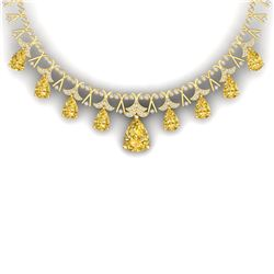 55.49 CTW Royalty Canary Citrine & VS Diamond Necklace 18K Yellow Gold - REF-945H5W - 38714