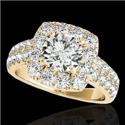 2.5 CTW H-SI/I Certified Diamond Solitaire Halo Ring 10K Yellow Gold - REF-260X2T - 33645