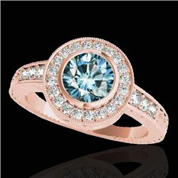 1.50 CTW SI Certified Fancy Blue Diamond Solitaire Halo Ring 10K Rose Gold - REF-170F9M - 33897