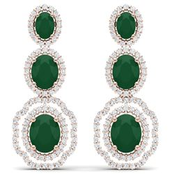 17.51 CTW Royalty Emerald & VS Diamond Earrings 18K Rose Gold - REF-345M5F - 39202