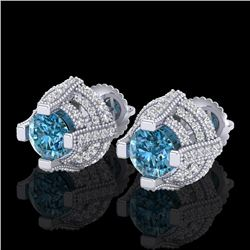 2.75 CTW Fancy Intense Blue Diamond Micro Pave Stud Earrings 18K White Gold - REF-236W4H - 37628