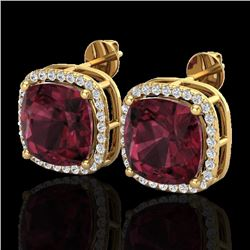 12 CTW Garnet & Micro Pave Halo VS/SI Diamond Earrings Solitaire 18K Yellow Gold - REF-88N2Y - 23065