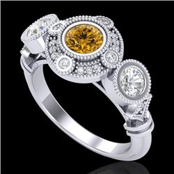 1.51 CTW Intense Fancy Yellow Diamond Art Deco 3 Stone Ring 18K White Gold - REF-218M2F - 37714