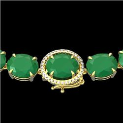 170 CTW Emerald & VS/SI Diamond Halo Micro Solitaire Necklace 14K Yellow Gold - REF-993F8M - 22295