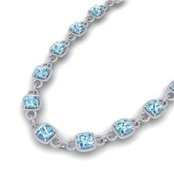 66 CTW Topaz & VS/SI Diamond Certified Necklace 14K White Gold - REF-805F3M - 23052