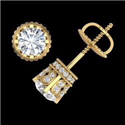 1.75 CTW VS/SI Diamond Solitaire Art Deco Stud Earrings 18K Yellow Gold - REF-249R3K - 36835