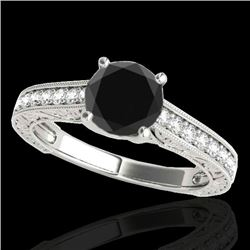 1.32 CTW Certified Vs Black Diamond Solitaire Ring 10K White Gold - REF-57H3W - 34946